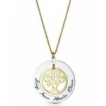 Collana oro bicolore albero della vita personalizzabile Mi racconto gioielli Eventi MF-45FA05