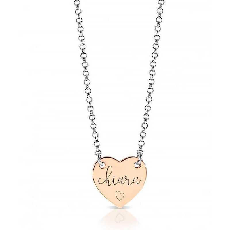 Collana con ciondolo a cuore in argento rosato e incisione Mi racconto gioielli Home MF-AG2PE58