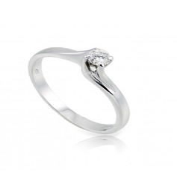 Anello solitario valentino 0,15 Ct. in oro bianco Zoppi Gioielli jewelry Anelli oro diamanti ANS15AU