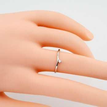 Anello con diamante 0,03 Ct. in oro bianco