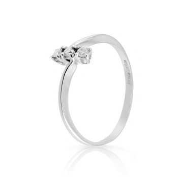 Anello Trilogy con diamanti 0,09 Ct. in oro bianco Prestige Gold Anelli oro diamanti HT08