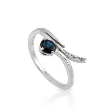 Anello con zaffiro 0,45 ct. e diamanti Prestige Gold Anelli oro diamanti AF104