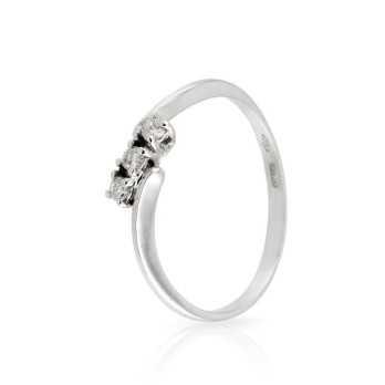 Anello Trilogy con diamanti 0,09 Ct. in oro bianco Prestige Gold Anelli oro diamanti HT06