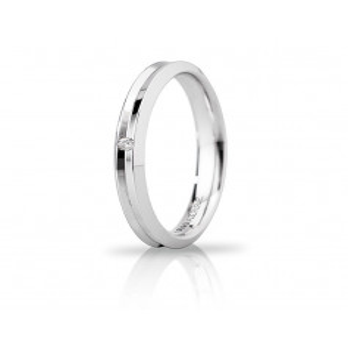 Fede Unoaerre Corona slim con diamante Unoaerre Italian jewellery Fedi Brillanti Promesse 30AFC278/001B