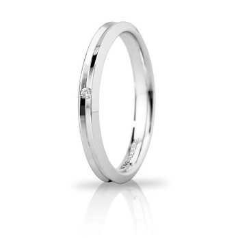 Fede Unoaerre Corona slim con diamante  Fedi Brillanti Promesse 30AFC278/001B