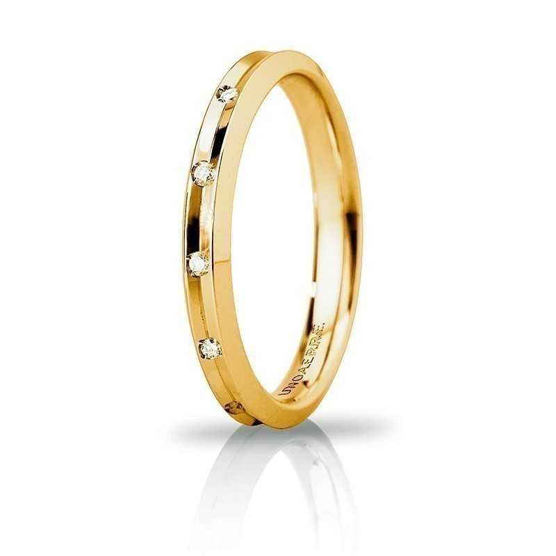 Fede Unoaerre Corona slim con 8 diamanti Unoaerre Italian jewellery Fedi Brillanti Promesse 30AFC278/008G