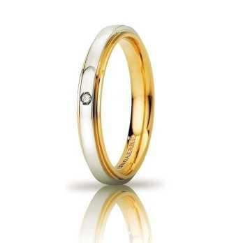 Fede Unoaerre Cassiopea slim con diamante Unoaerre Italian jewellery Fedi Brillanti Promesse 50AFC282/001