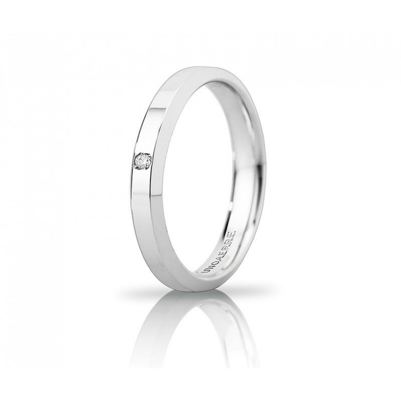 Fede Unoaerre Hydra slim con diamante Unoaerre Italian jewellery Fedi Brillanti Promesse 30AFC280/001B