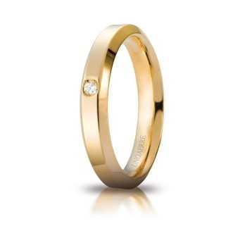 Fedi Anelli Nuziali Fede Unoaerre Hydra con diamante Unoaerre Italian jewellery