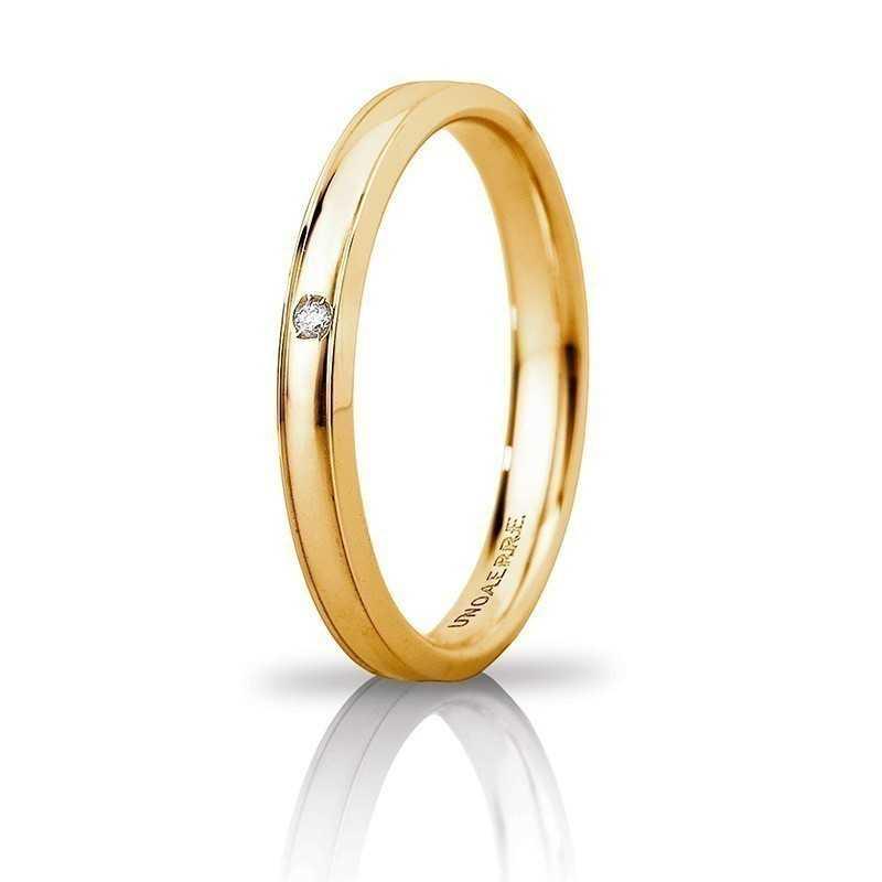 Fede Unoaerre Orion slim con diamante Unoaerre Italian jewellery Fedi Brillanti Promesse 30AFC279/001G