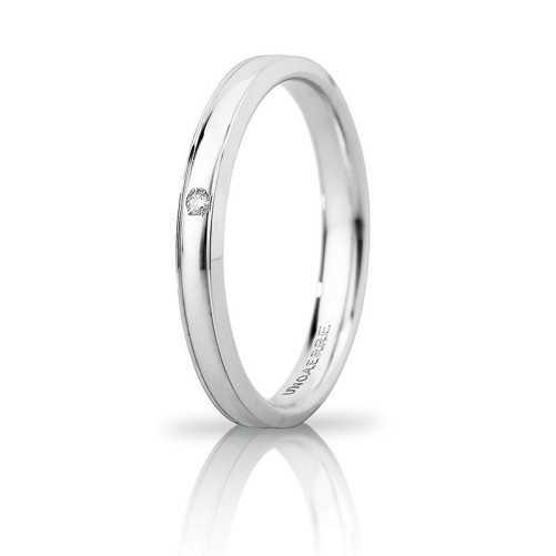 Fede Unoaerre Orion slim con diamante Unoaerre Italian jewellery Fedi Brillanti Promesse 30AFC279/001B