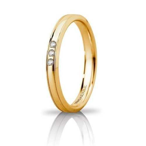 Fede Unoaerre Orion slim con 3 diamanti Unoaerre Italian jewellery Fedi Brillanti Promesse 30AFC279/003G