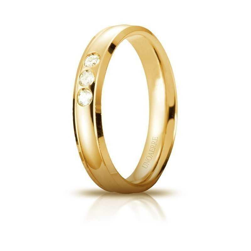 Fedi Anelli Nuziali Fede Unoaerre Orion con 3 diamanti Unoaerre Italian jewellery
