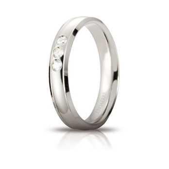 Fede Unoaerre Orion con 3 diamanti Unoaerre Italian jewellery Fedi Brillanti Promesse 40AFC279/003B