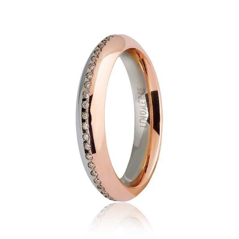 Fede Unoaerre 9.0 Eterna con diamanti a giro Unoaerre Italian jewellery Fedi collezione 9.0 070AFC290/0500