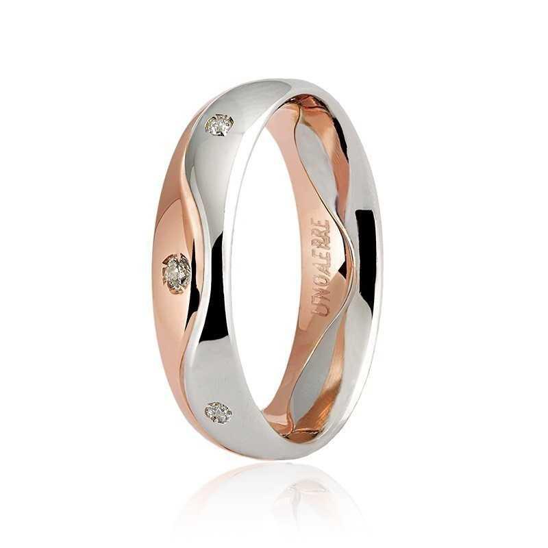 Fede Unoaerre 9.0 Galassia con 8 diamanti a giro Unoaerre Italian jewellery Fedi collezione 9.0 050AFC009/0080