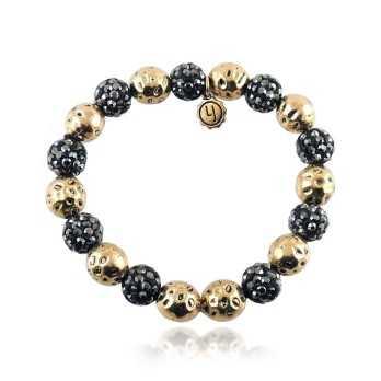 Bracciale con sfere nere e oro