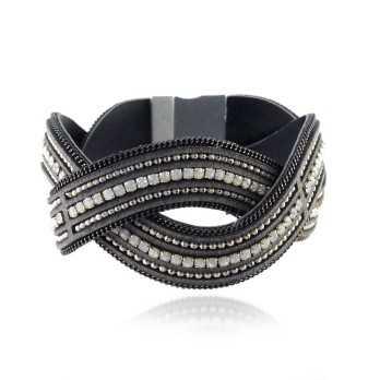 Promozioni Bracciale in pelle e cristalli - grigio Lizas jewellery