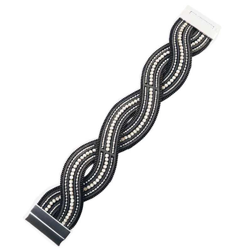 Bracciale in pelle e cristalli - grigio Lizas jewellery Promozioni LZ-18811BR