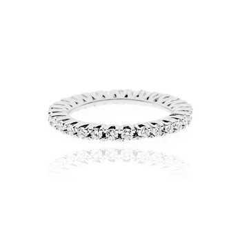 Anello Veretta in argento con zirconi a giro