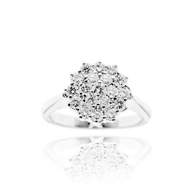 sito affidabile b9b78 42d04 Anello donna grama & mounier in oro bianco 18k con diamanti Ct. 0,96 totali
