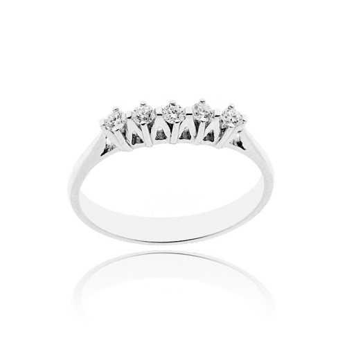 Anello riviera con 5 diamanti Ct. 0,20