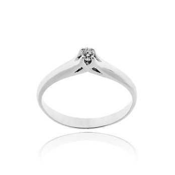Anello solitario in argento con zircone Ct. 0,06