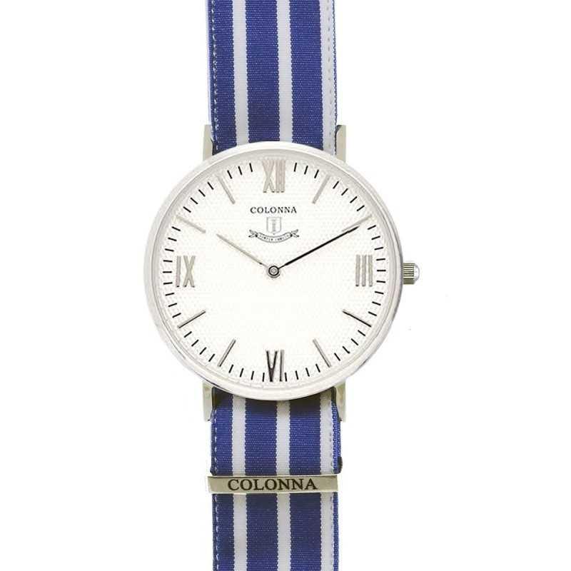 Eleganti Orologio con polsino sartoriale a righe blu Colonna Orologi