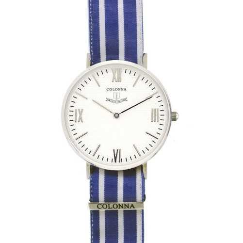 Orologio con polsino sartoriale a righe blu
