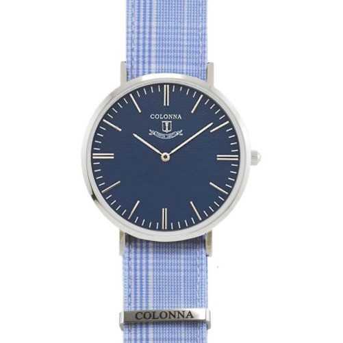 Orologio con polsino sartoriale azzurro