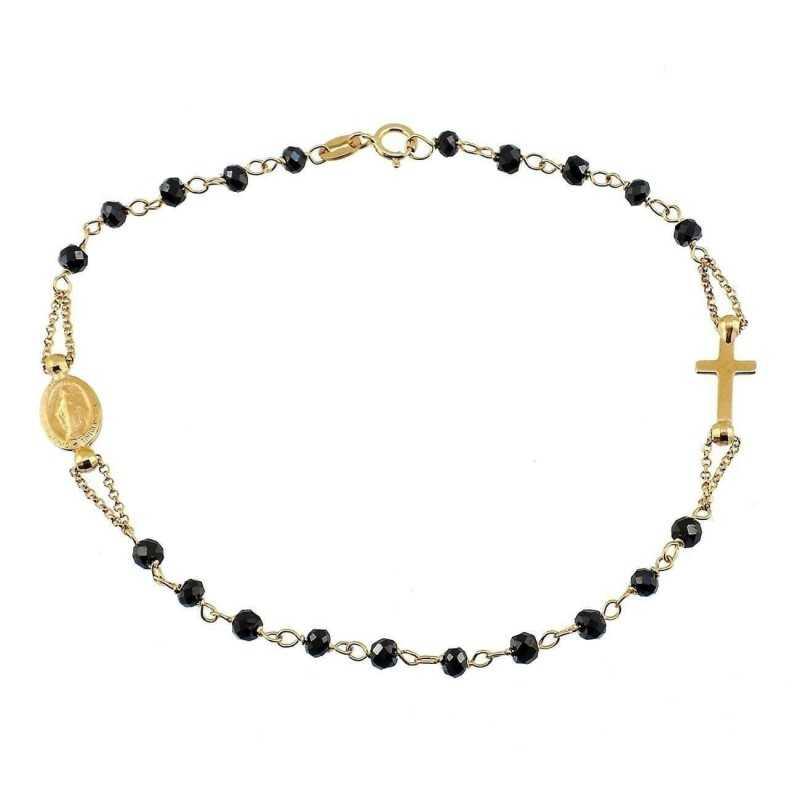 4bc132d06b56d1 Bracciale a rosario in oro giallo 18k e grani neri