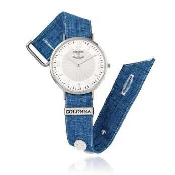 Orologio con polsino sartoriale lino blu Colonna Orologi Orologi Eleganti uomo C2200LIB