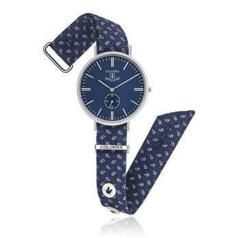 Eleganti Orologio vintage con polsino sartoriale blu Colonna Orologi