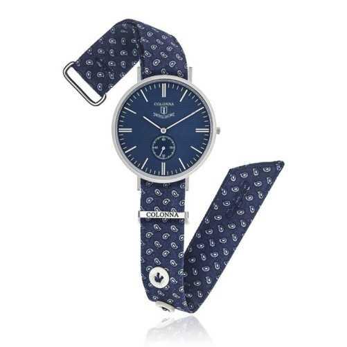 Orologio vintage con polsino sartoriale blu
