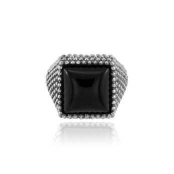 Anello da mignolo antichizzato e pietra nera Home 39,00€ product_reduction_percent