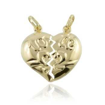 Cuore divisibile con decoro in oro giallo Zoppi Gioielli jewelry Ciondoli CN-AU250L