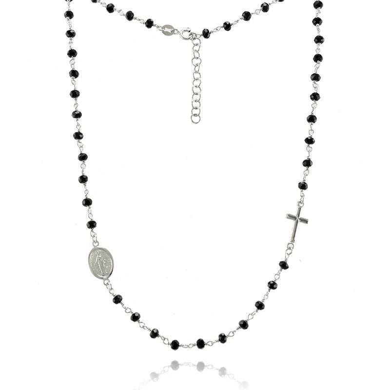 Girocollo a rosario pietre nere Alexia Gioielli Collane religiose RB-CLR21AG