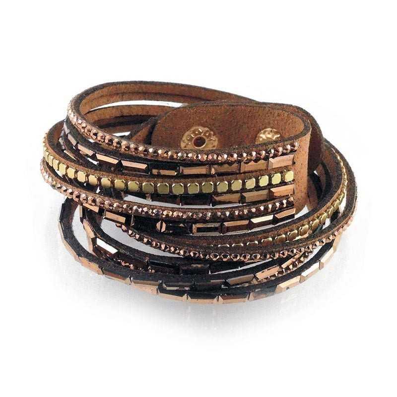 Bracciale in pelle e cristalli - marrone Lizas jewellery Promozioni LZ-18691BR