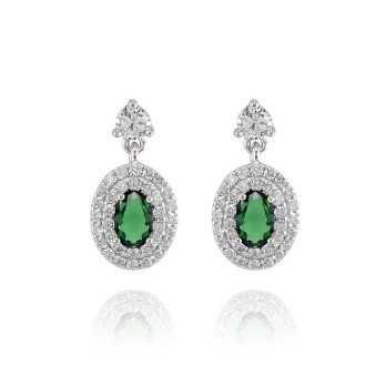 Orecchini Donna Orecchini a pavè con pietra verde Zoppi Gioielli - Multibrand