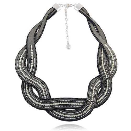 Collana bavaglino in cuoio con pietre Lizas jewellery Promozioni LZ-24005CL