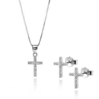 Collane Donna collana e orecchini croce con pietre Alexia Gioielli