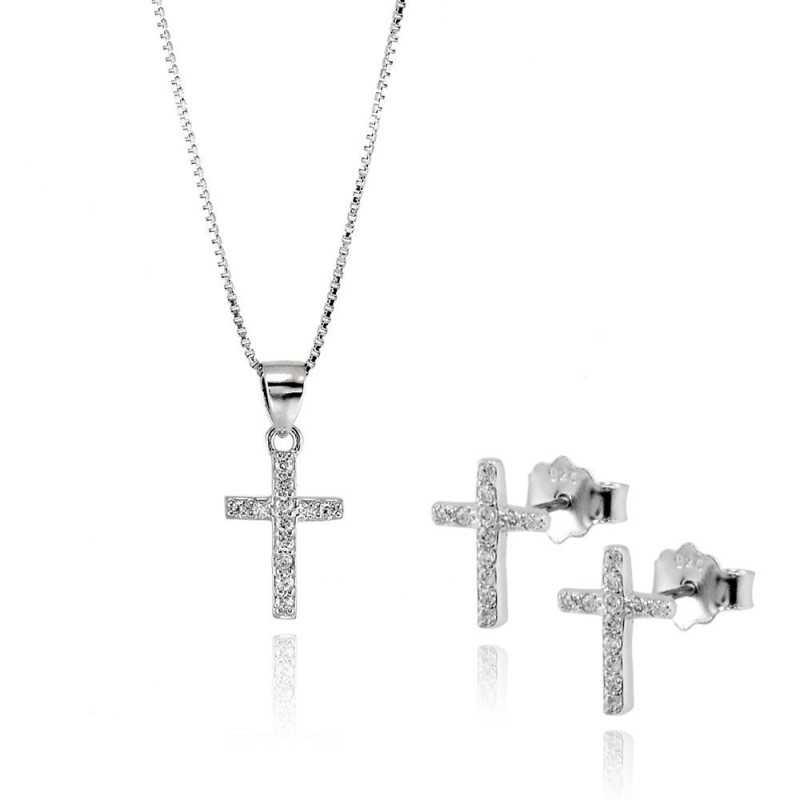 4c7c894a4b741c Collane Donna collana e orecchini croce con pietre Alexia Gioielli