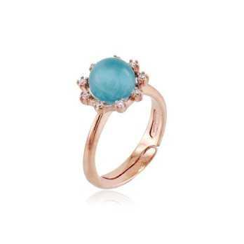 Anello argento rosè con pietra occhio di Gatto celeste Zoppi Gioielli bijoux Anelli Donna GD-AN600AGR2