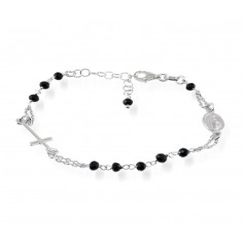Bracciali Bracciale a rosario con pietre nere Alexia Gioielli