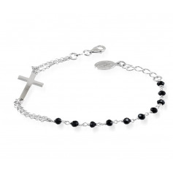 Bracciale a rosario argento e pietre nereAlexia Gioielli Bracciali religiosi 20,00€ RB-BRR15AG