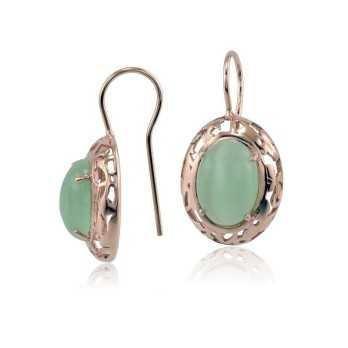 Orecchini Donna Orecchini in argento rosè con pietra verde Zoppi Gioielli - Multibrand