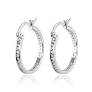 Orecchini Donna Orecchini cerchio in argento con zirconi a giro Zoppi Gioielli - Multibrand