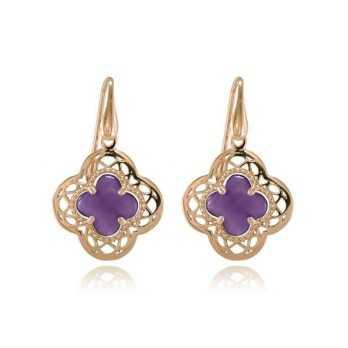 Orecchini Donna Orecchini pendenti argento rosa e pietra viola Zoppi Gioielli - Multibrand