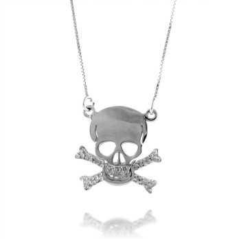 Collana con teschio in argento Collane Uomo UC-CL15AG