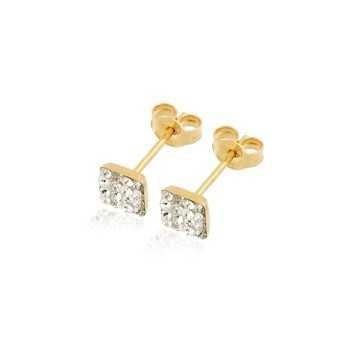 Orecchini Donna Orecchini in oro forma quadrata con pietre